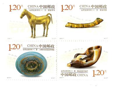 【切手】2018-11 シルクロ-ドの文物(4種)